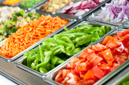 Selective-focus image of a fresh salad bar.